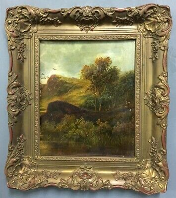 Antique Victorian Scottish Oil On Board Painting In Gold Gilt Style Frame