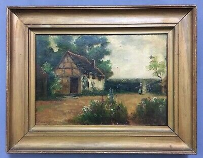 Antique Victorian Oil On Canvas Painting In Gold Gilt Frame By Frank Walters