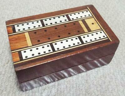 Antique Cribbage Board 1890 Folding Inlaid Wooden Cribbage Box