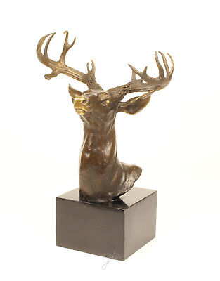 9937046-dss Bronze Sculpture Figure Bust Trophy Deer H40cm