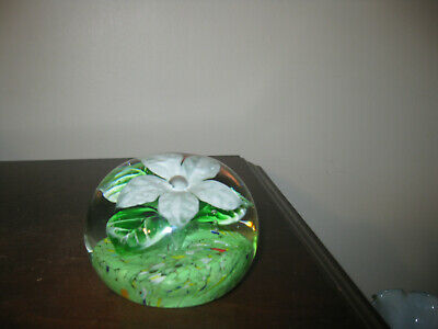 Clear Glass Paperweight White Flower with Green Leaves w/White Veins