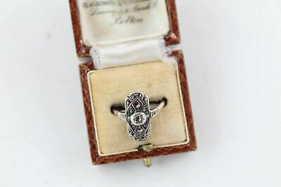 Exceptional Art Deco 9ct GOLD & SILVER MARCASITE RING Size J, Boxed (2.5g)