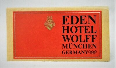 Vintage Luggage Sticker Eden Hotel Wolff Munchen Germany with Olympic Rings