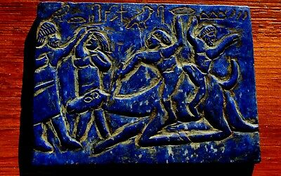 Stunning Ancient Very Old Hand Carved Lapis Slab Hieroglyphics & People & Camel