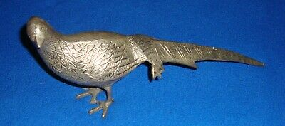 Vintage Cast Silver Nickel Cast Iron Metal Ring-Neck Pheasant Birds Figure
