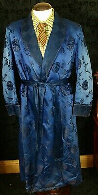 Rare Genuine Vtg Smoking Jacket Dressing Gown Robe Art Deco 1920's Silk Large