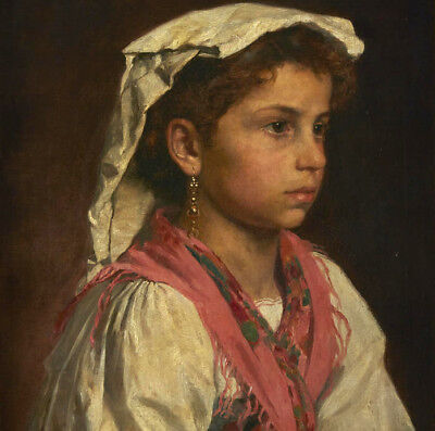 """perfect 30x30 oil painting handpainted on canvas""""Young Italian girl""""@10749"""