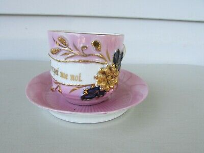 "Vintage Porcelain MUSTACHE CUP & SAUCER PINK~Raised Gold Flowers ""Forget Me Not"