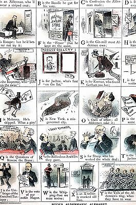 Political Alphabet 1886 CORRUPTION BRIBERY SNITCH LEADS to JAIL SING SING Puck