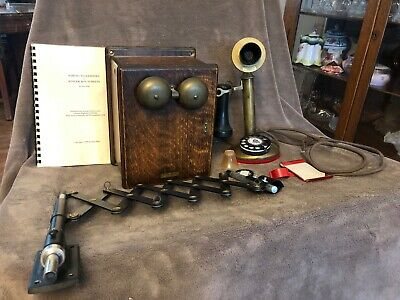 Western Electric Rotary Dial Brass Candlestick Telephone w/ Ringer Box & More