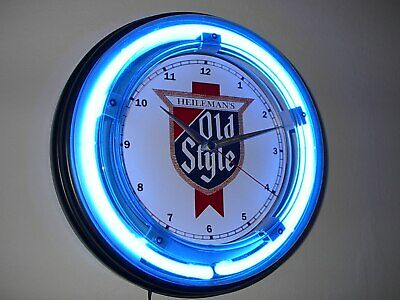 **Old Style Beer Bar Tavern Blue Advertising Neon Wall Clock Sign