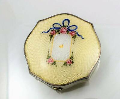 Antique Sterling Hand Painted Yellow Enamel Guilloche Compact Double Sided
