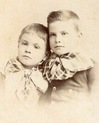 ANTIQUE CABINET PHOTO DARLING LITTLE VICTORIAN BOYS w PLAID BOW TIES BACKSTAMP