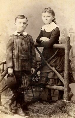 Antique Cabinet Photo Victorian Children Fashion Dress Plaid Knickers Hat Fence