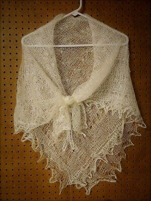 "30/""-74/"" ORENBURG LACE WHITE GRAY SHAWL SCARF WRAP 100/% DOWN WOOL PASHMINA //s9"