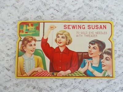 """NEW!, Vintage """"Sewing Susan"""" Sewing Needle Book -70 Ct."""