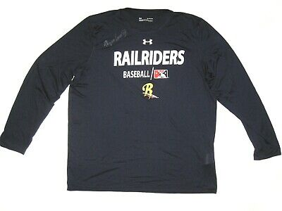 Ryan Lavarnway Practice Worn Signed Blue Scranton/Wilkes-Barre Railriders Shirt