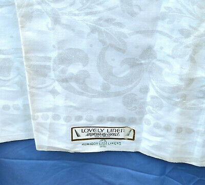 NWT Antique Irish Linen Double Damask Tablecloth 70x90 Rectangle Mums