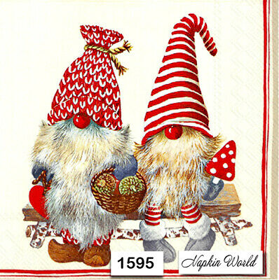 (1595) TWO Individual Paper Luncheon Decoupage Napkins - CHRISTMAS GNOMES TOMTE