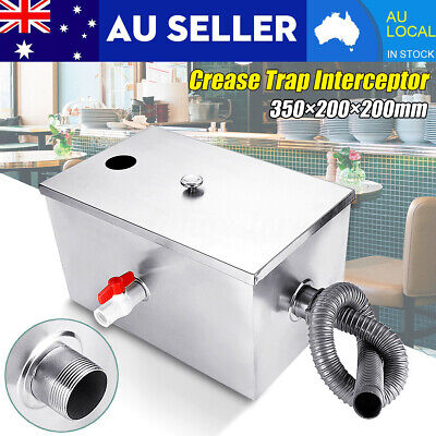 AU 8LB Grease Trap Stainless Steel Interceptor For Restaurant Kitchen Wastewater