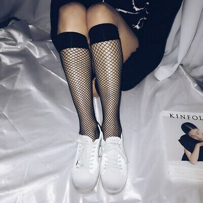 Breathable Sexy Fishnet Stockings Ankle / Knee High Net Sock Black Mesh Socks UK
