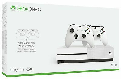 Microsoft Xbox One S 1TB Console White with 2 Wireless Controllers