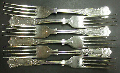 Vintage Set Of 6 Silver Plated Kings Pattern Dessert Forks - Epns A1 Sheffield