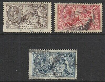 1918 KGV SEAHORSE HIGH VALUES SET OF 3 SG413a/417 USED