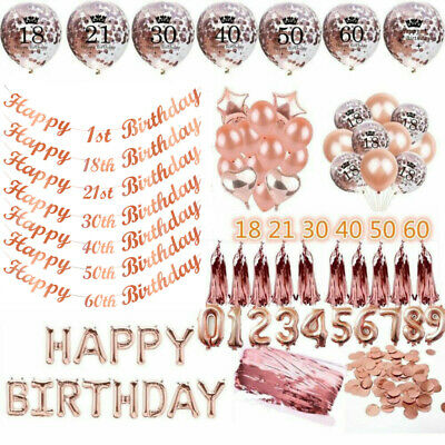 Rose Gold Happy Birthday Party Decorations Set Balloons Bunting Banner 1-80th