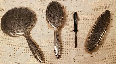 Antique Primitive Firenze Italy 800 Silver Vanity Set Brushes Mirror + File