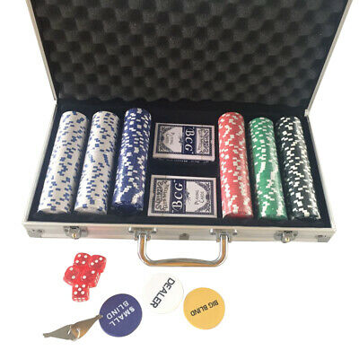 300pcsChips Poker Chip Set 11.5 Gram Holdem Cards Game with Aluminum Case Dices
