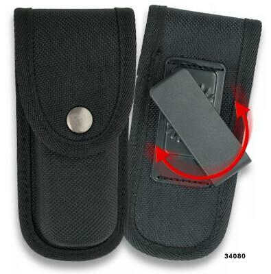 Black Nylon Pocket Knife Pouch - swivel clip 110 mm