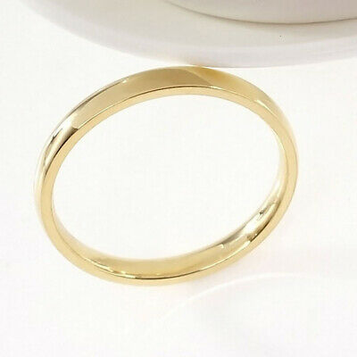 4mm Women Stainless SteelPolished Wedding Engagement Band Ring Gold Sz7