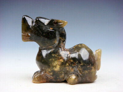 Vintage Nephrite Jade Stone Carved Sculpture Seated Foo Dog Lion #09181903