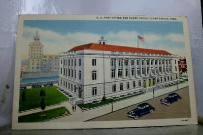 Iowa IA Cedar Rapids US Post Office Court House Postcard Old Vintage Card View