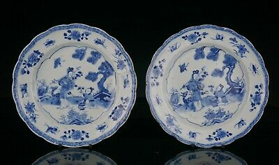 FINE! Pair Antique Chinese Blue and White Porcelain MOULDED Fluted Plates 18th C