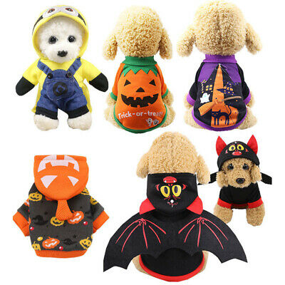 Pet Dog Puppy Hoodie Sweatshirt Halloween Pumpkin Spider Witch Costume Outfits
