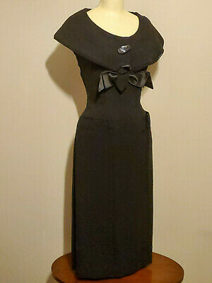 Vintage Black 40s Retro Wiggle Dress Pin up Rockabilly Pencil Fitted XS Franklin