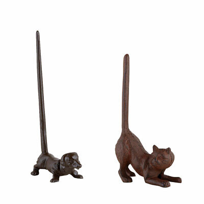 NEW (Set) Cast Iron Cat And Dog Paper Towel/Toilet Paper Holders