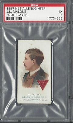 Allen & Ginter - The World's Champions N28 - J L Malone, Pool Player - Psa 5
