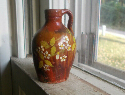 """1870s REDWARE POTTERY TINY 2 1/2""""MINI OVOID JUG ORIGINAL HAND PAINTED FLOWERS"""