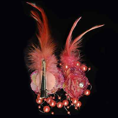 2 Piece Hair Clip Pink Buttonhole Flower Beads Feathers Rhinestone Salmon