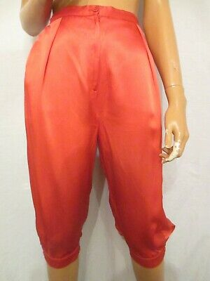 Vintage 1980s UK:10/12 Red Shiny Satin Knickerbockers Party Fancy Dress Retro