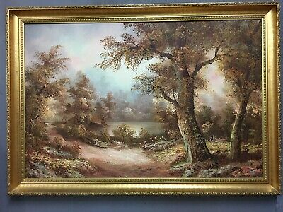 Very Large Original Oil On Canvas Painting In Gold Gilt Frame, Signed