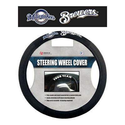 MLB Milwaukee Brewers Poly-Suede Steering Wheel Cover