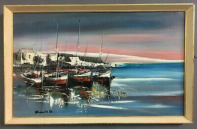 Large Mid Century Modernist Oil On Board Painting Seascape, Signed