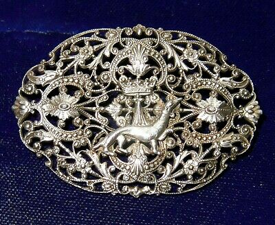 Antique French 19th century Silver Brooch BRETON INSPIRED Crown and Ermine Royal