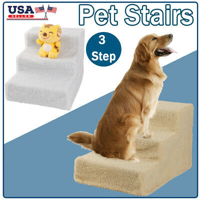 Pet Easy 3 Steps Stairs Cat Dog Play Indoor Sofa Bed Climb Ramp Ladder Max 70lbs