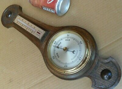 VINTAGE OAK O COMITTI & SONS AC ANCHOR BAROMETER WITH THERMOMETER  No398 BANJO