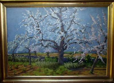 Large FRENCH IMPRESSIONIST Landscape Oil Painting SPRING BLOSSOM BY MARCEL